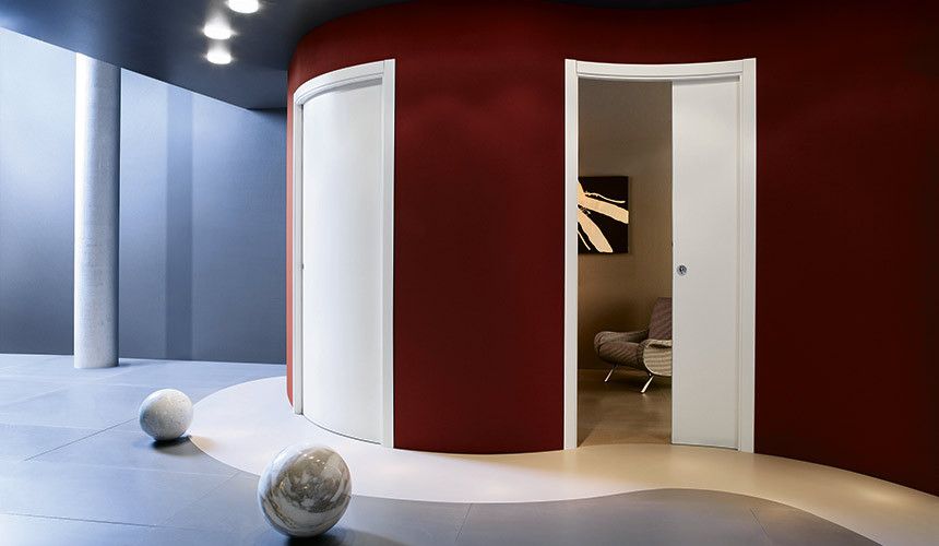 Eclisse Single Curved Pocket Door : curved doors - pezcame.com